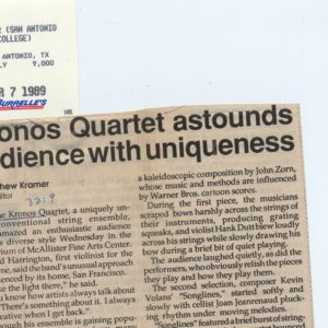 A Thousand Thoughts - Astounds Headline 1989 Credit The Ranger, San Antonio College