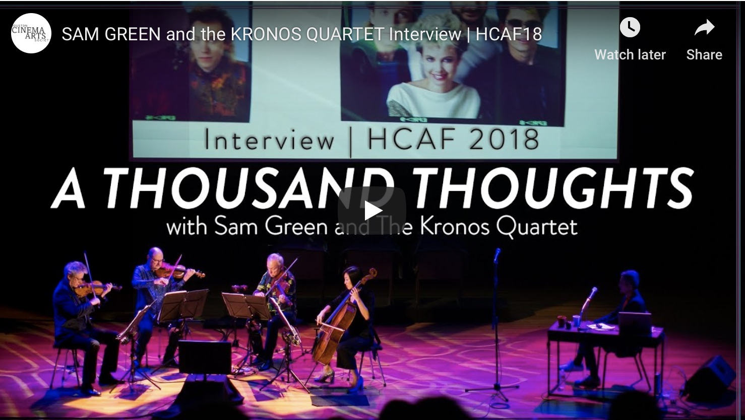 Interview with Sam Green and Kronos Quartet in Houston